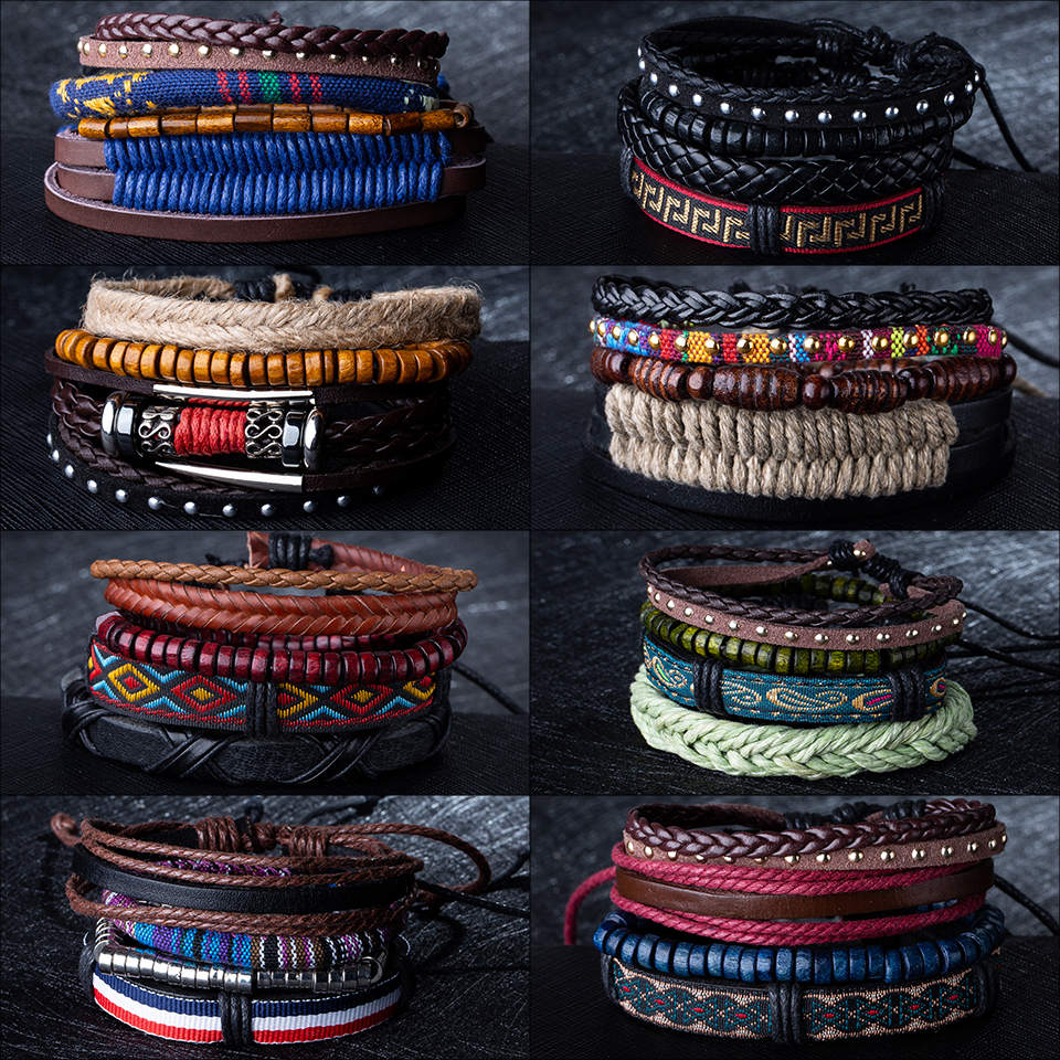 Hot Sale Mens Chain Link Bracelet Fashion Alloy Leather Bracelets&Bangles Ethnic braided Rope Wrap Bracelets for Women Men Gifts