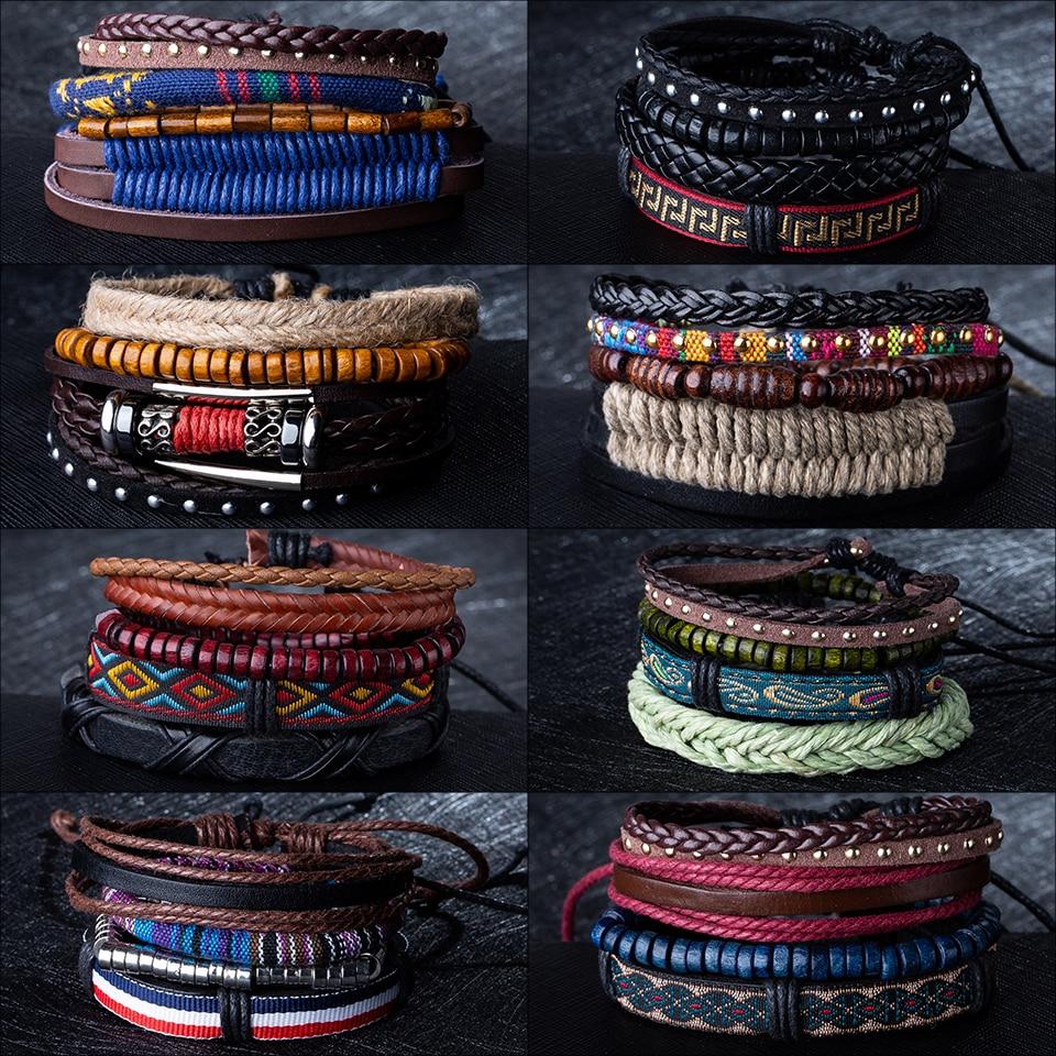 Hot Sale Mens Chain Link Bracelet Fashion Alloy Leather Bracelets&Bangles Ethnic braided Rope Wrap Bracelets for Women Men Gifts