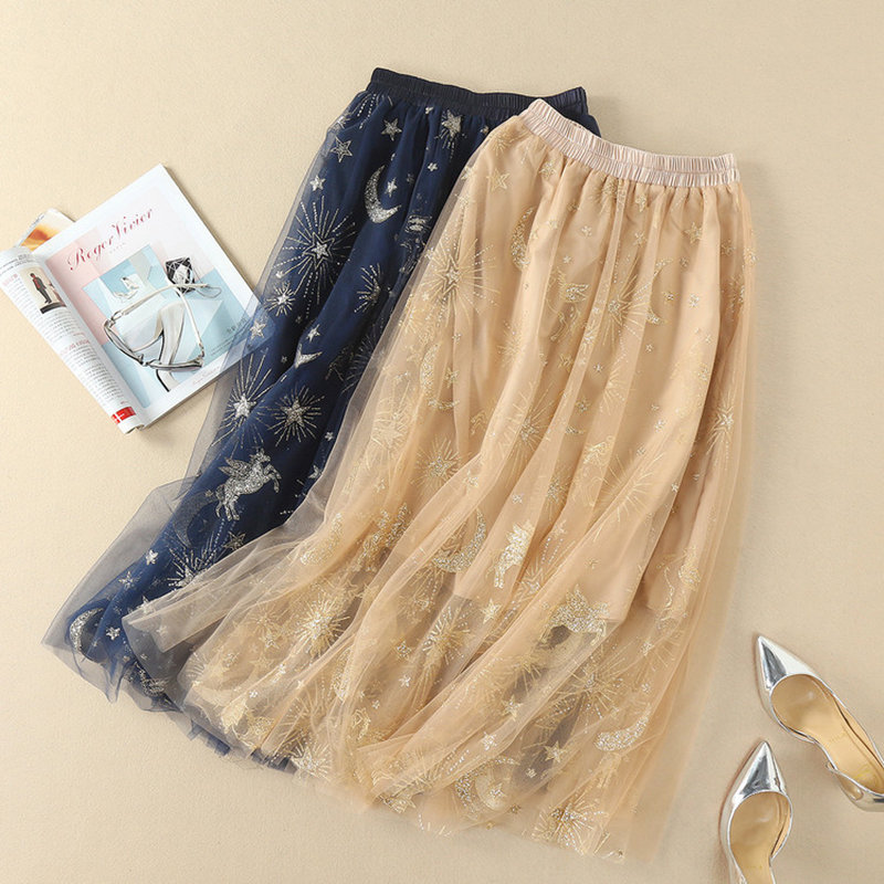 2018 Spring Summer Golden Embroidery Women Long Skirts Fashion Pretty European Female Mesh Long Skirts Elasticity Waist