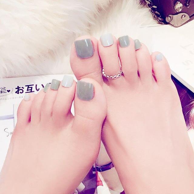 Online Shop New toenail 24PCS Nail art products Fake nails gray ...