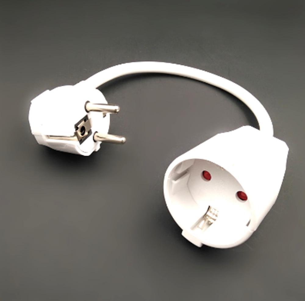1PCS White 0.5M EU German plug socket extension power cable IEC320 16A 250V male to female server power cord 0.75 square