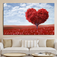 Big Size Love Heart Tree In Sea Of Flowers Landscape Oil Painting Print On Canvas Wall