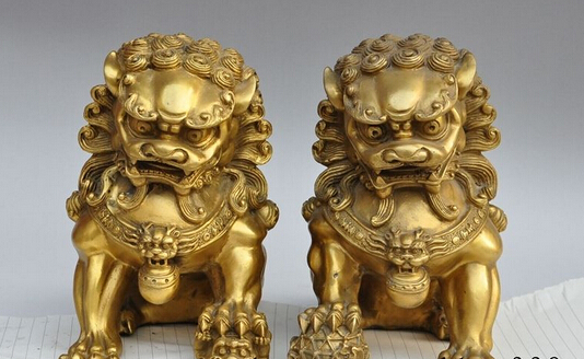 Copper Brass craft xd 002720 9Chinese Brass Folk Fengshui Foo Fu Dog Guardian Lion sculpture Statue Pair