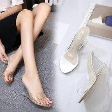 POADISFOO Women Slipper High Heels Summer Wild Summer women's Shoes Word Buckle Simple Wedge Sandals Transparent LFD-833-2