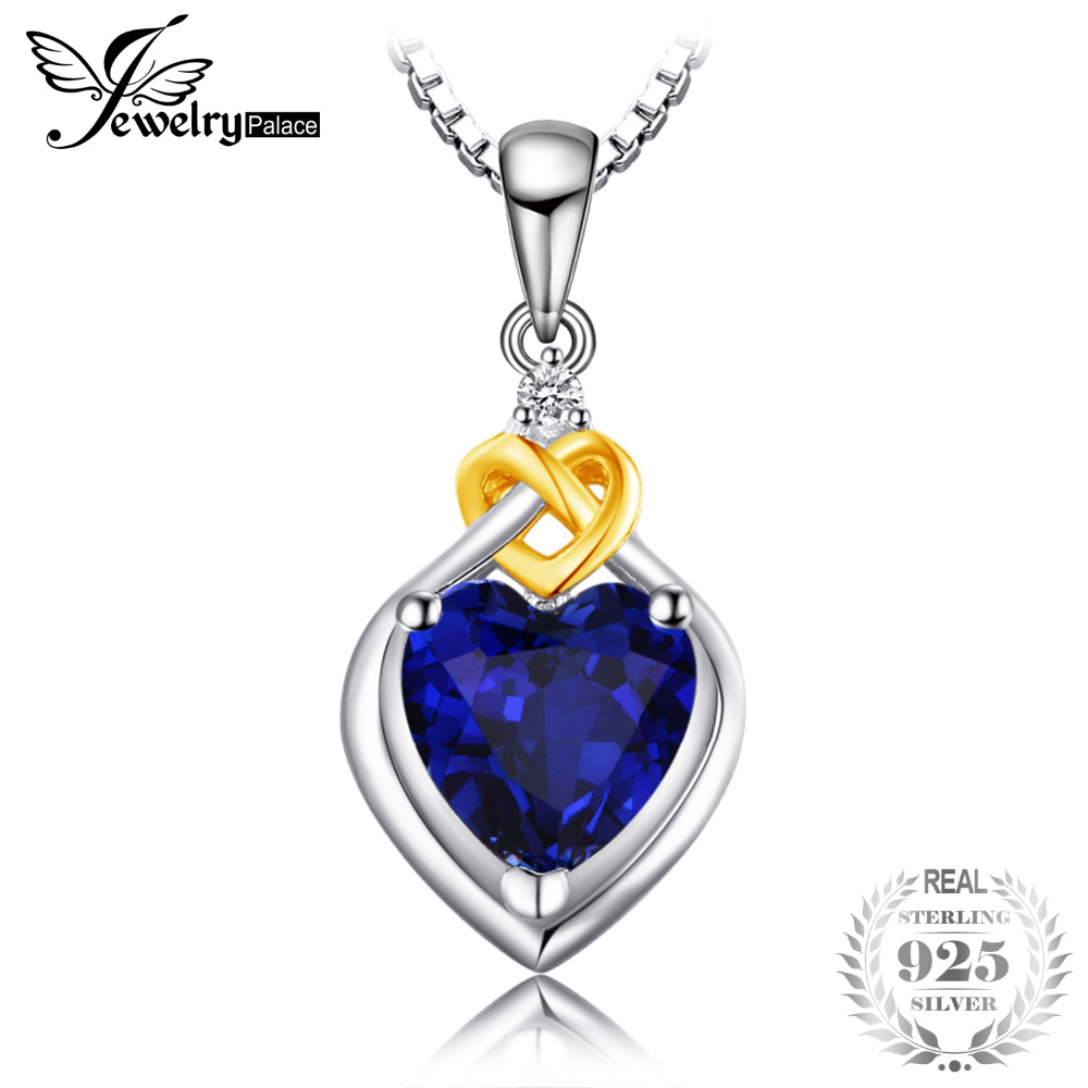JewelryPalace Love Heart 2.5ct Created Sapphire Pendants For Woman 100% 925 Sterling Silver Fashion Jewelry Not Include A Chain