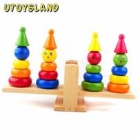 UTOYSLAND Komiker Clown Regenbogen Stacker Wippe Waagschale Kinder Holzspielzeug