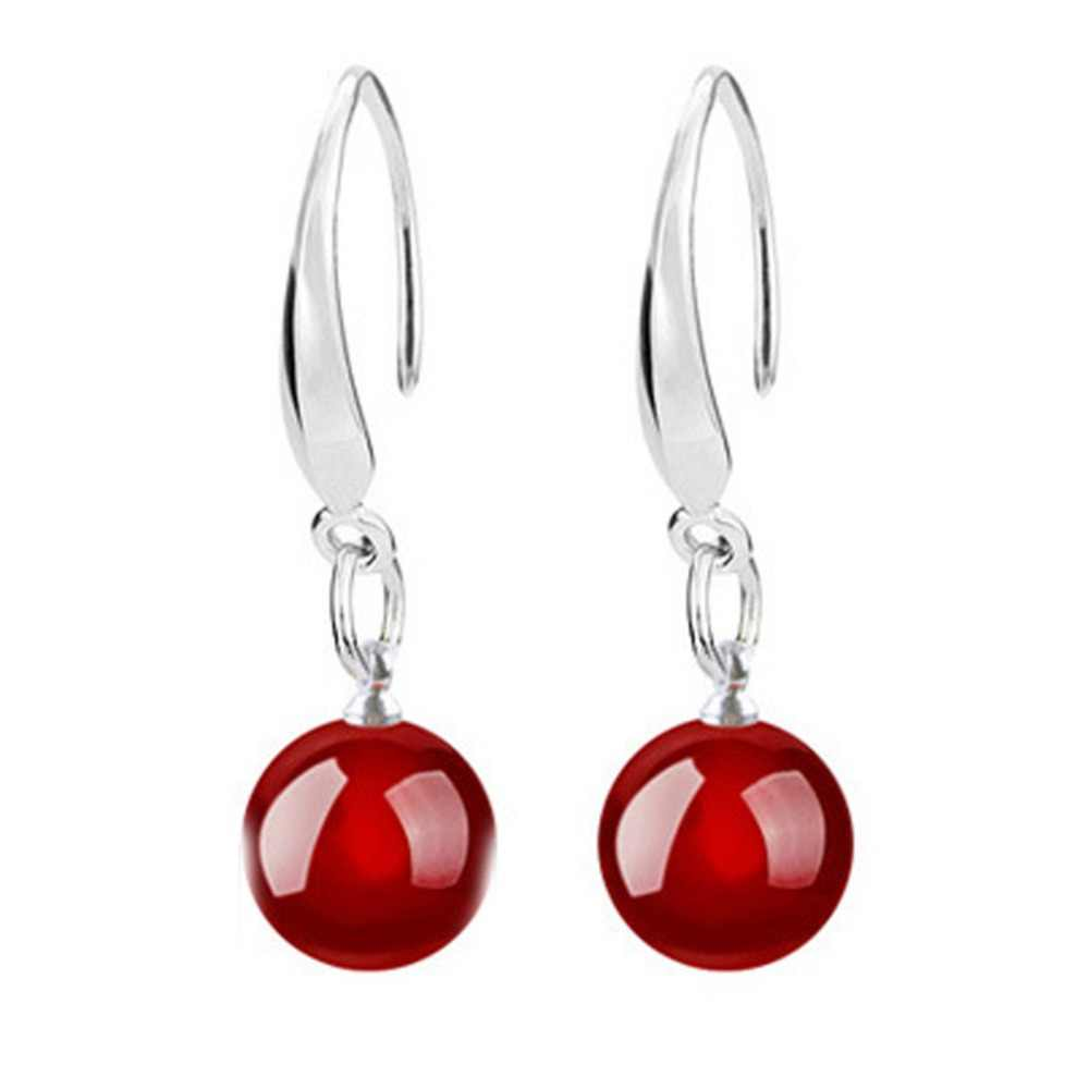 Fashion Natural Stone Ear Drop Crystal Black Red Pearl Dangle Earrings Pendientes Fine Jewelry