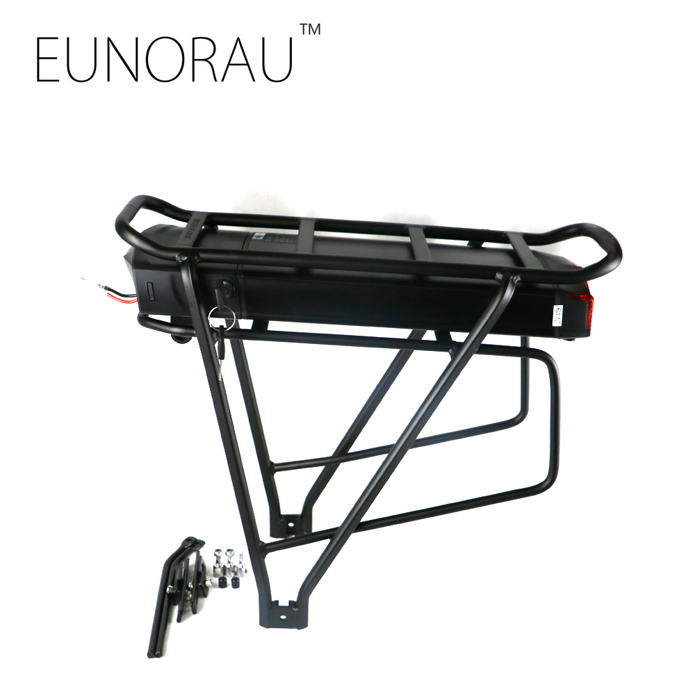 Electric bike 36V17Ah 1203 black battery with rear rack hot sale rear rack drawer type 36v 10ah electric bike li ion battery 36v 10ah e bike kit 36v 500w battery