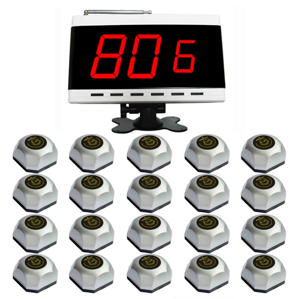 SINGCALL wireless waiter call system for cinema,bath. including 20 pcs table buzzer and 1 pc of APE9600 table wireless waiter call system for restaurant equipment receiver and waterproof buzzer ce 1 display 1 watch 9 call button