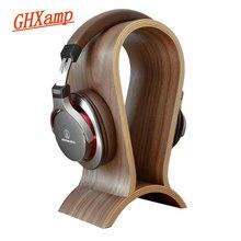 Ghxamp ヘッドホンヘッドホルダーユニバーサルクルミ木製アーチ形状イヤホン Headphoe ためハンガーデスク陳列棚ラック 1 ピース