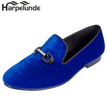 Harpelunde/мужская повседневная обувь; Синий вельвет с пряжкой;