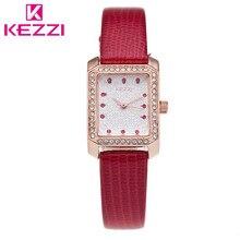 K-1412 KEZZI Marca de Moda de Cuero Casual Mujeres Del Reloj de Lujo Mujeres Rhinestone Reloj de Cuarzo Relogio Feminino Regalo KZ41