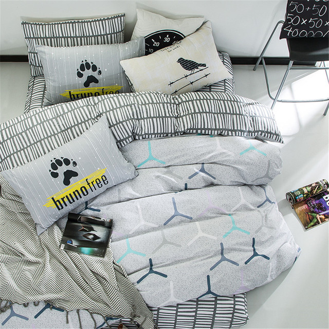 Yeekin 100 Cotton Simple Style Gray White Bedding Sets 4pcs High Quality Stripes Quilt Duvet Cover Flat Bed Sheet Pillowcase