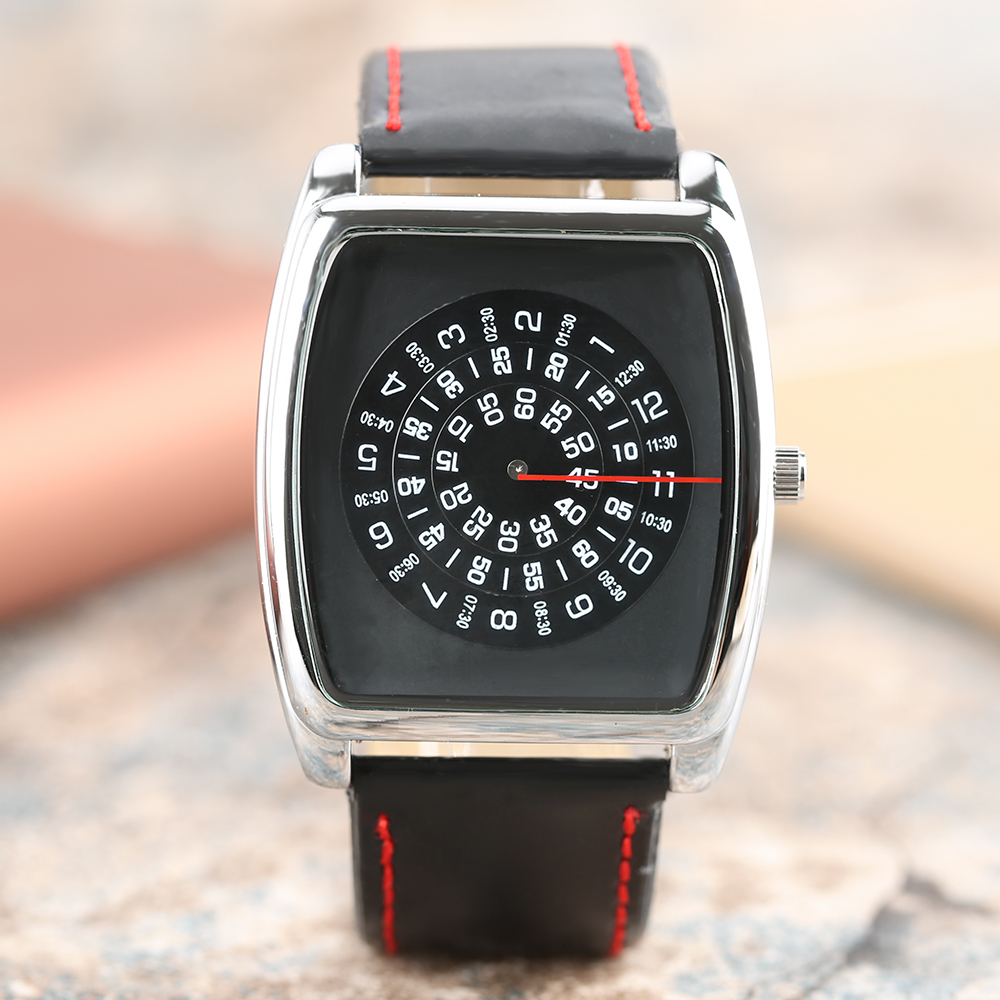 Fashion Unique Brand Black Quartz Leather Band Wrist Watch Men's Boy Turntable Rectangle Dial Gift Wristwatches Q0801 new arrival turntable men sport wrist watch simple unique fashion quartz rectangle dial casual watch relogio masculino
