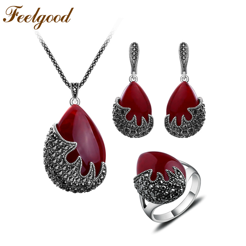 Feelgood Trendy Jewellery Water Drop և Black Crystal Flame Shape Vintage Silver Silver Գույնը Թուրքական զարդեր