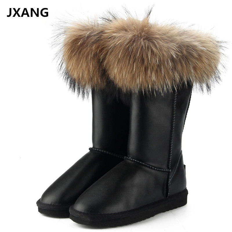 JXANG Fashion Boots Women High Boots Women Snow Boots 100% Genuine Waterproof Winter Shoes Natural Fox Fur Leather jxang fashion thick natural fox fur snow boots women boots 100% real leather waterproof winter warm snow boots ankle boots