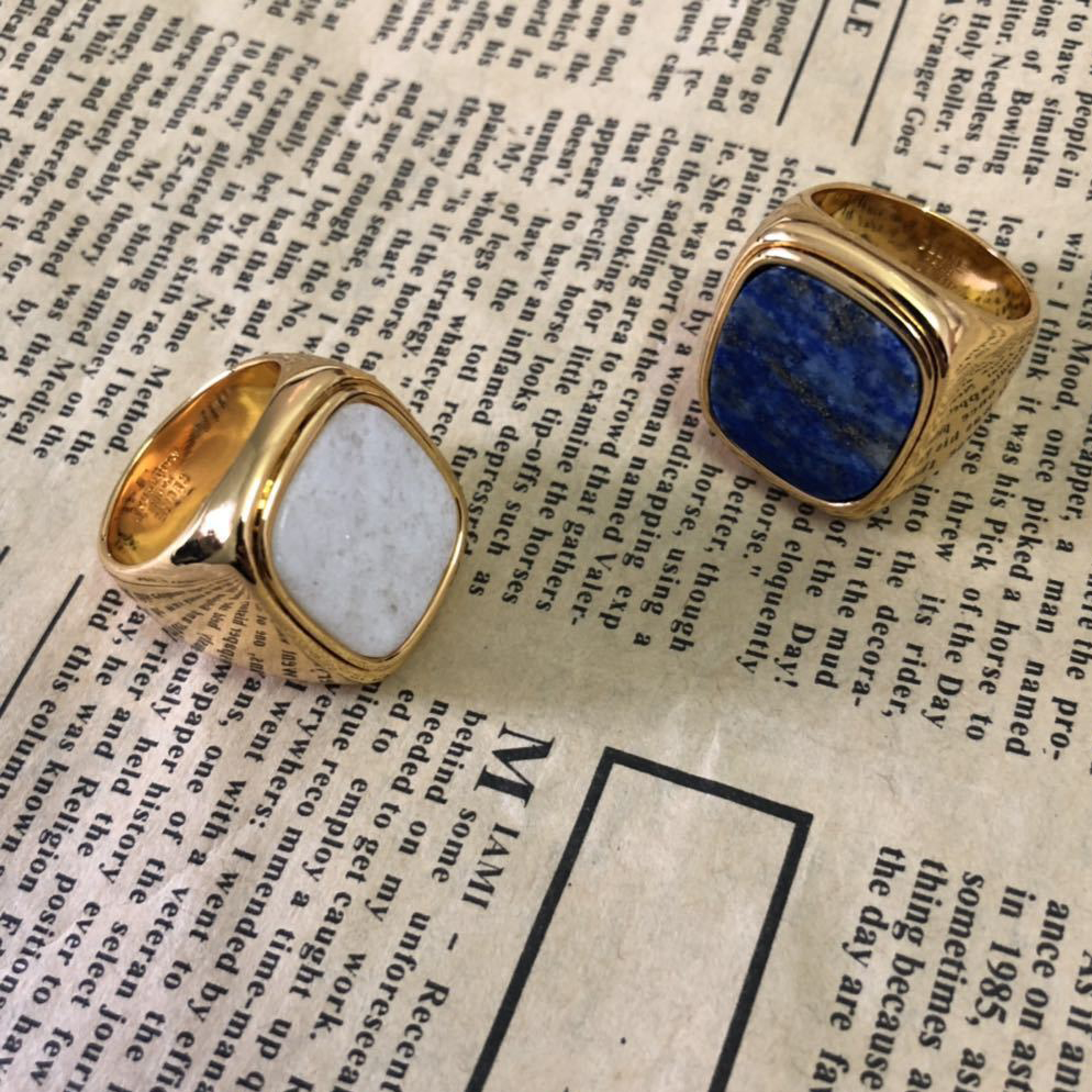 Europeu de Metal Frio Vento Lazurite Pedra Semi-preciosa Natural Anel anelli anel Charme anel aneis bague anillos mujer bisuteria