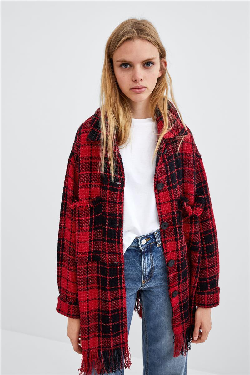 cheap for discount fd000 fe650 WISHBOP-2018-Rouge-Noir -Tweed-Veste-Chemise-Col-Drop-paule-Avant-Bouton-up-Ourlet-Effiloch-Poitrine.jpg