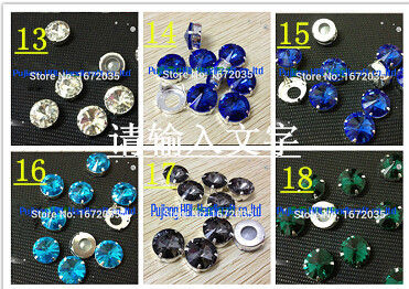 14mm 100PCS /BAG Crystal Rivoli Shining Beads Round single claw drill stone garnent casual dresses accessaries