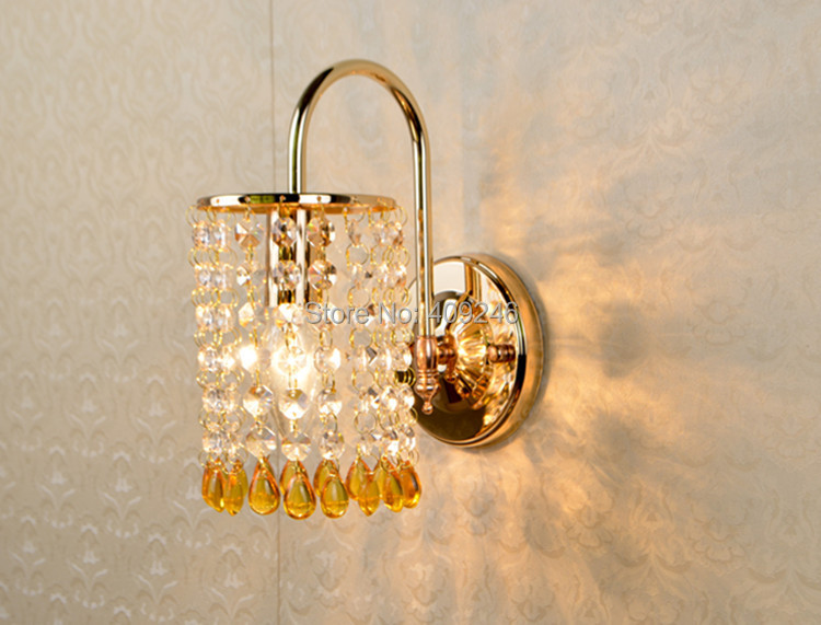 ФОТО Modern Bule/Yellow Bead Wall light K9 Crystal For Bedroom Aisle Hallway Lamp E14