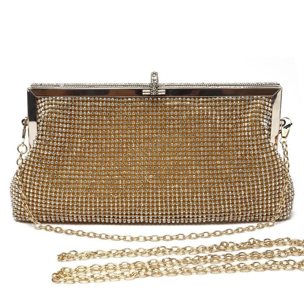 Nytt märke kristallkoppling guldafton väska kvinna party kopplingar - Handväskor