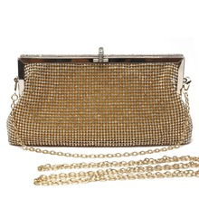 New brand crystal clutch gold evening bag woman party clutches beaded wedding bag elegant small messenger shoulder bag purse