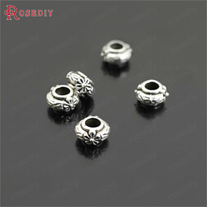 (26969)100PCS 6.5x4MM,hole:3MM Antique Style Zinc Alloy with Flower Large Hole Spacer Beads Bracelet Beads Diy Jewelry Findings