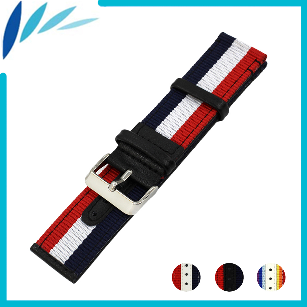 Nylon Nato Leather Watch Band 22mm 24mm for Frederique Constant Canvas Fabric Strap Wrist Loop Belt Bracelet Black White Red