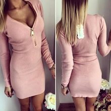 New Fashion Women V-neck Tight Package Hip Screw Thread Long Sleeve Zipper Dress