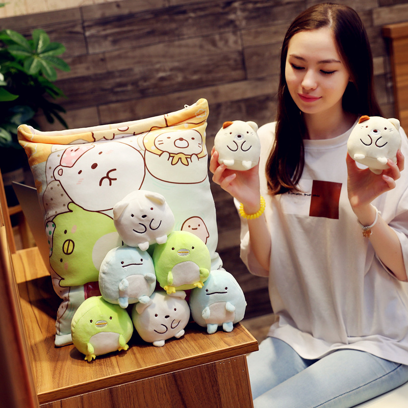 A Bag Pudding Of Sumikko Gurashi Plush 8 Pcs Japanese Animation Sumikko Gurashi Soft Pillow Corner Bio Cartoon Toyfor Kids Girl