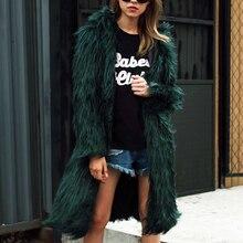Owłosione w dłuższym stylu płaszcz ze sztucznego futra zimowe puszyste ocieplany cieplejszy bluza z kapturem z kapturem płaszcz Chic odzież wierzchnia płaszcz Trenchcoats