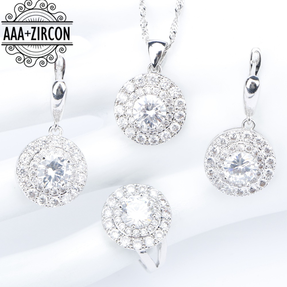 все цены на Wedding Round White Zircon Silver 925 Jewelry Sets Costume Women Rings Necklaces Pendants Earrings With Stones Set Gift Box