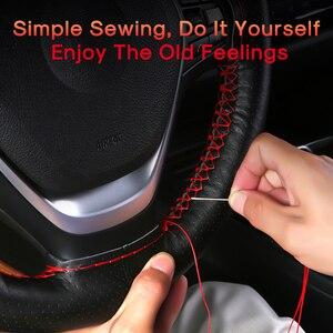 Image 5 - Car Steering Wheel Covers Fits Outer Diameter of 37 38CM DIY Genuine Leather Braid On The Steering Wheel Of Car