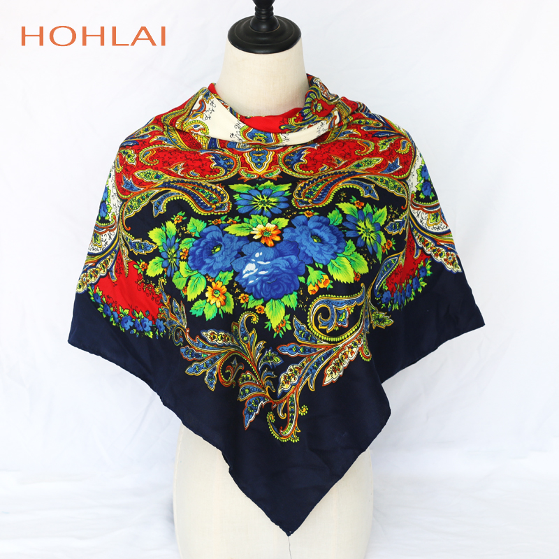 Luxury Brand Russian Fashion 120cm Retro Printed Scarves Winter Cotton Hijab Sunscreen Wrap Scarves Shawls Women Large Square