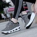 2017 Chaussure Femme Женщины Тренеры Платформы Обувь Женщина Повседневная Обувь Для Похудения женские высокие платформы обувь Черный Размер Плюс