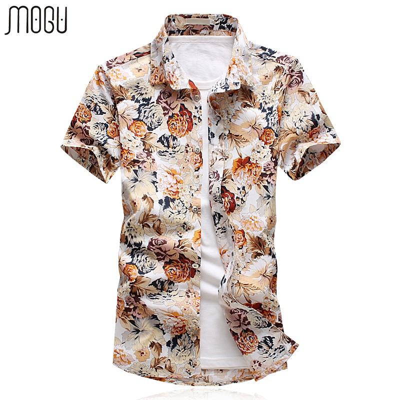 Mogu Для мужчин S цветочный гавайская рубашка с короткий рукав Лето 2017 г. Новая мода печатных Повседневная рубашка Для мужчин Slim Fit Азии Размер... ...