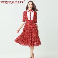Holiday mujeres pista Vestidos 2018 moda primavera flores imprimir patchwork media manga popular Top azul/vestido rojo