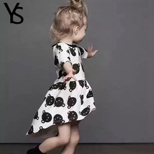 2-6T  Little Baby Girls Dress Summer Short Sleeve  Bear Printed Casual Infant Toddler Girls Clothes