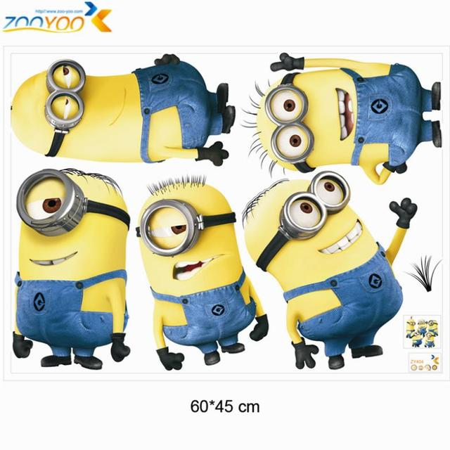 despicable me 2 minions wall stickers for kids rooms zooyoo1404 decorative  wall art removable pvc cartoon wall decal - free shipping worldwide