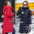 2017 Larga sección femenina de algodón de invierno de las nuevas mujeres Delgado con capucha de Down Escudo de Corea outwear camperas de mujer de invierno MZ759