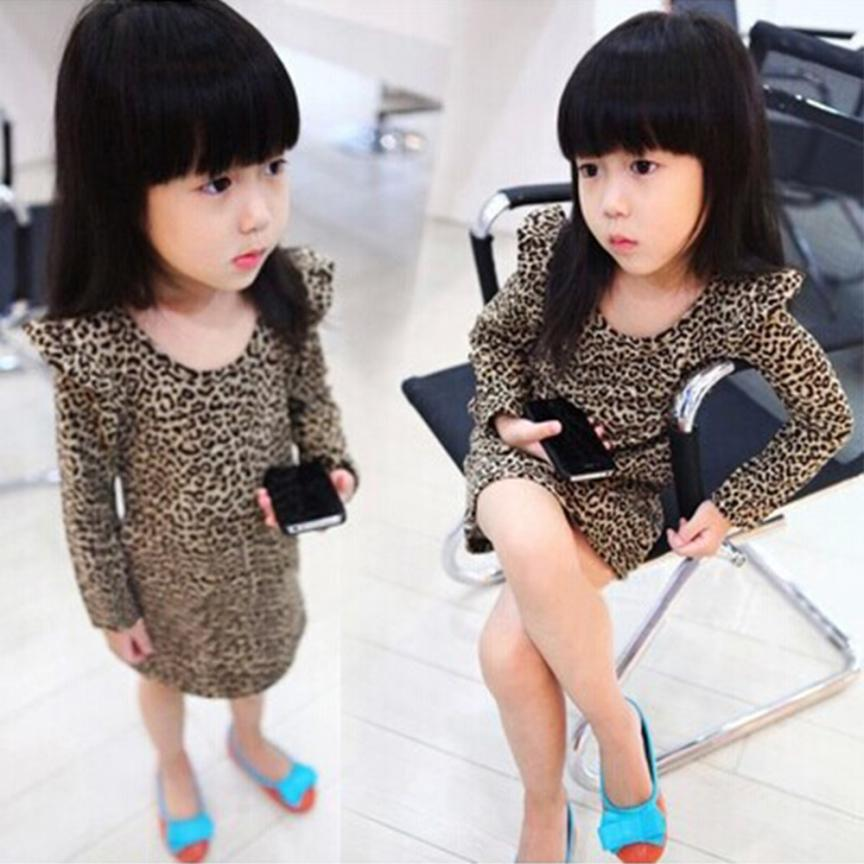 Girl Dress Fashion Toddler Baby Girl kid Leopard Long Sleeve Princess Party Dress f11