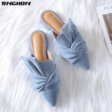 цена на TINGHON Elegant Pointed Toe Flat Shoes Women Blue Bowtie Women Flats Fashion Slip on Ladies Shoes Women 41 Size