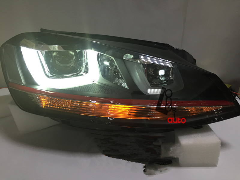 car styling bi xenon projector headlights with led drl for vw golf mk7 gti 2014 2015 head lamp. Black Bedroom Furniture Sets. Home Design Ideas