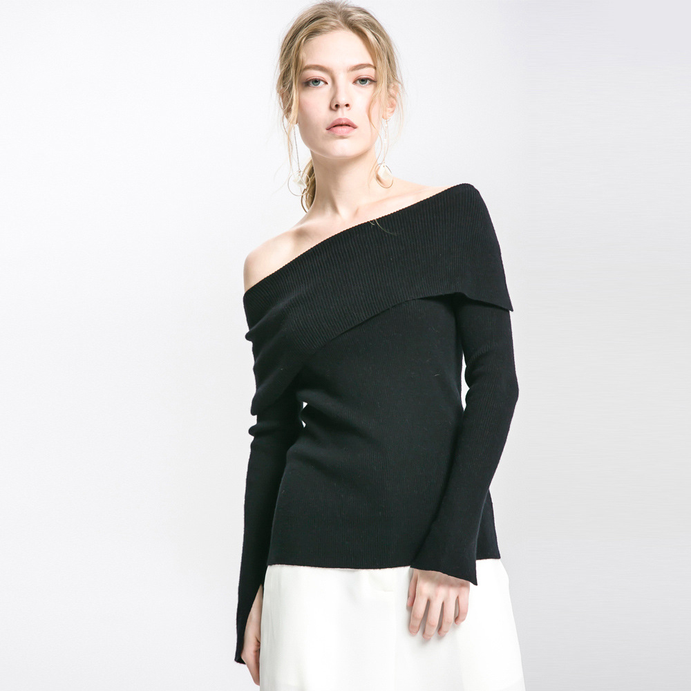 Black A Laterali Internazionale Abbigliamento Lunga white Maglia Banchetto Testa Moda Spacchetti Stazione Collare Manicotto Del gray Vestito Femminile Maglione Manica Donna Bz4UwwX1nq