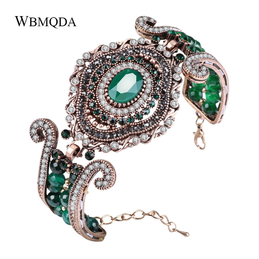 Wbmqda Luxury Vintage Wide Bracelet Green Natural Stone Crystal Beads Bangles For Women Antique Gold Statement Turkey Jewelry купить недорого в Москве