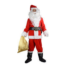 2018 New Arrival 10PCS Adult Christmas Costume Santa Claus Cosplay Coat Pants Beard Belt Hat Glasses Set Party Props