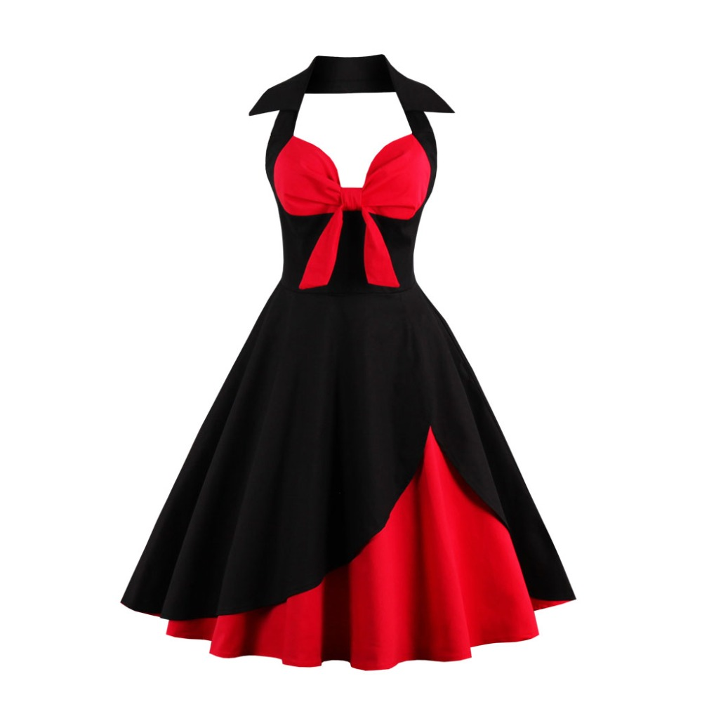 Aliexpress.com   Buy Womens Sexy Vintage Dress Plus Size Patchwork  Rockabilly Retro Bow Halter A Line Fit   Flare Cocktail Party Swing Midi  Dress from ... c0a46525b35a
