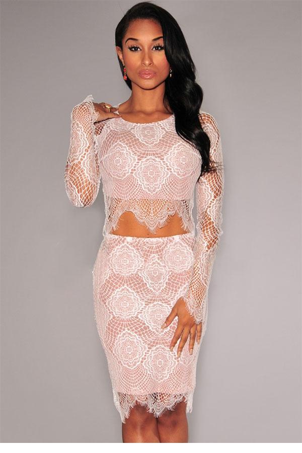 9d100f301b4 Vestido curto White Nude Illusion Delicate Lace dress Set LC6805 ...