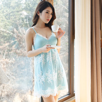 Free Shipping 2016 New Design women's Summer Spaghetti Strap Lace Flower Mini Nightwear Nightgown Princess Sleepwear Sexy Design
