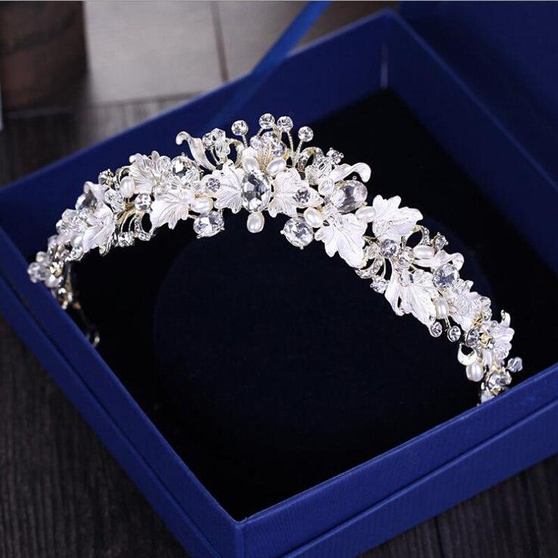 KMVEXO 2018 Gorgeous European Bride Wedding Leaves Flowers Pearl Tiara Crowns Crystal Queen Tiara Diadem Bridal Hair Accessories